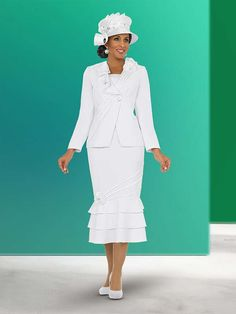 Fifth Sunday 52836-White Layered Flounce Skirt Suit With Ruffles & Piping