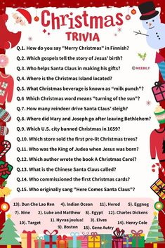 Christmas Trivia Questions & Answers - Meebily - Here you will get and - Christmas Trivia Questions, Christmas Trivia Games, Trivia Questions And Answers, Xmas Games, Holiday Games, Christmas Party Food, Christmas Drinks, Christmas Activities, This Or That Questions