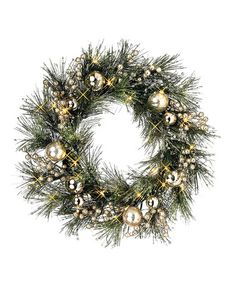 Take a look at this Silver Pine & Glitter Lighted Wreath by Regency International on #zulily today!
