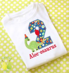 DINOSAUR BIRTHDAY Custom Personalized dino Childs TShirt 1st 2nd 3rd 4th 5th 6th appliqued embroidered name shirt