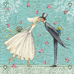 Bride and Groom Decoupage Napkin
