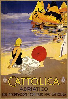 Cattolica, Adriatico. Per informazioni: Comitato pro Cattolica. Travel poster shows woman on beach looking at boats in the water. Print by Stab. A. Marzi, Roma, for ENIT (Ente Nazionale Italiano per il Turismo), between 1920 and 1930.
