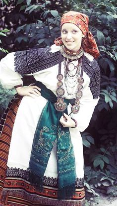 Russian traditional costume. Festive attire of a peasant woman from Voronezh Province, Russia. Modern work according to the fashion of the 19th century.