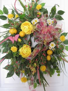 FRESH LEMONS-Country Spring Summer Floral Door Wreath Arrangement-FREE SHIPPING!