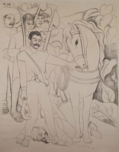 Diego Rivera (1886-1957, Mexico), 1931, Cartoon for Agrarian Leader Zapata, Charcoal on paper, 250 x 198 cm, Private collection, Mexico. © 2011 Banco de México Diego Rivera & Frida Kahlo Museums Trust, México, D.F./Artists Rights Society (ARS), New York