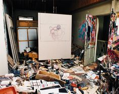 Francis Bacon, the space is the work of a genius at work, using his environment as his pallette, place to Lay things