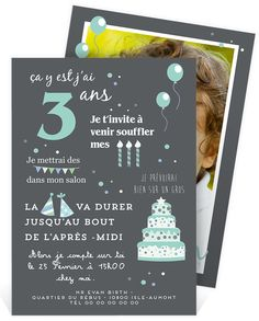 Invitation anniversaire avec ses illustrations festives qui enchantera votre petit et ses amis, ref N24194 Girl First Birthday, Third Birthday, Baby Birthday, Birthday Parties, Birthday Organizer, Circus Invitations, Lets Celebrate, Baby Party, Princess Party