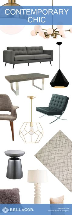 Shop Contemporary Chic Lighting, Furniture and Home Decor. Free Shipping on all orders $75+ plus our Bellacor Price Match Guarantee. http://www.bellacor.com/contemporary-chic.htm?partid=social_pinterestad_contemporarychic_collage