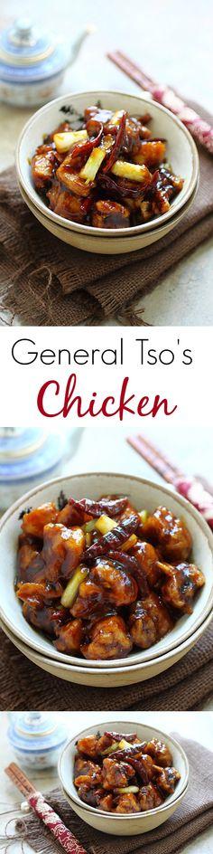 BEST and easiest homemade General Tso's Chicken ever. Crazy delicious and a zillion times healthier and better than takeout! Easy Delicious Recipes, Healthy Recipes, Asian Recipes, Cooking Recipes, Yummy Food, Tasty, General Tso, Asian Cooking, Food Dishes