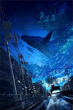 Pixiv Id 8957289 Image - Zerochan Anime Image Board Fantasy Art Landscapes, Fantasy Landscape, Fantasy Artwork, Landscape Art, Aesthetic Art, Aesthetic Anime, Aesthetic Pictures, Anime Scenery Wallpaper, Galaxy Wallpaper