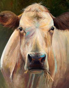 Pintura - Bridget - papel o impresión de Giclee de la lona de la vaca