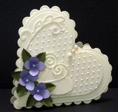 Stunning Embossed Heart Card...with purple flowers.  Could so see this as a cookie :)