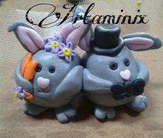 Coppia coniglietti sposi #married #cake #topper #carrot #fimo #art #handmade