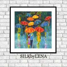 Fine Art Print Giclee art Print Umbrellas Rain painting wall art print silk painting fine art print modern fine art Figurative Art