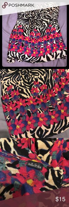 """Stella & Dot scarf Super fun zebra and floral scarf. Has been worn a lot but still in good shape! Size is approximately 38"""" x 72"""" Stella & Dot Accessories Scarves & Wraps"""