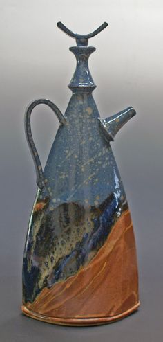 """Sandy Terry - Teapot - Desert Nights  Hand built slabs with wheel thrown component  14"""" tall"""