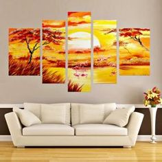 5 pannello pezzi foresta a buon mercato quadri moderni paesaggio ...