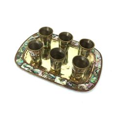Vintage Abalone Inlay Shot Glass Set with by PrimaTreasures