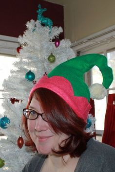 """How to make an elf hat, also a """"how to"""" make an elf apron on this site."""