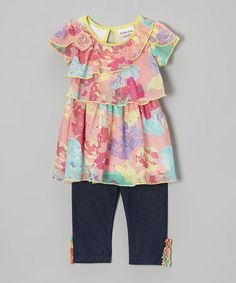 Love this Pink & Yellow Sequin Tunic & Jeggings - Infant, Toddler & Girls on #zulily! #zulilyfinds