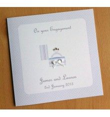 Handmade Personalised Engagement Card - Bird in cage