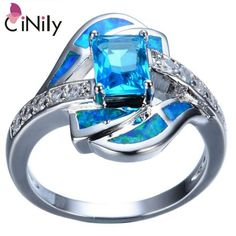 [Visit to Buy] CiNily Created Blue Opal Blue Zircon Cubic Zirconia Silver Plated Wedding Ring Wholesale For Women Jewelry Size 5-12 OJ8419 #Advertisement