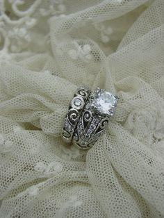~Stunning Ornate Vintage Style Filigree WG 2pc Engagment Diamond Ring Set Mount~ | eBay