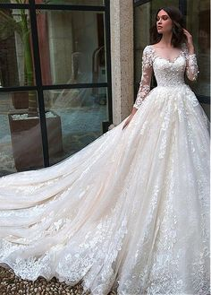 Magbridal Junoesque Tulle Bateau Neckline Ball Gown Wedding Dresses With Beaded Lace Appliques & Handmade Flowers Hochzeit Western Wedding Dresses, Wedding Dress Styles, Dream Wedding Dresses, Bridal Dresses, Wedding Gowns, Beaded Dresses, Tulle Wedding, Mermaid Wedding, Tulle Ball Gown