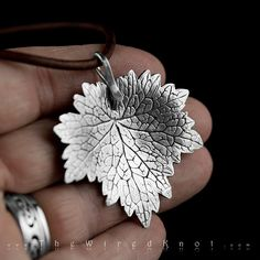 Motherwort Leaf Pendant in Fine Silver 999 on a genuine leather cord. Precious Metal Clay PMC3.