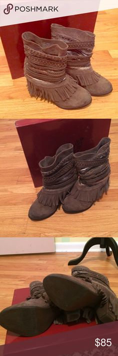 Naughty monkey poncho boots Only worn twice, I just can't do heels anymore :( EUC! Comes with original box and dust bags. I would say that they run small. naughty monkey Shoes Ankle Boots & Booties