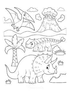 Dinosaur Coloring Pages Triceratops Ankylosaurus Flying Dinosaur Erupting Volcano Dinosaur Coloring Sheets, Disney Coloring Sheets, Unicorn Coloring Pages, Animal Coloring Pages, Coloring Books, Disney Coloring Pages Printables, Free Disney Coloring Pages, Cute Coloring Pages, Coloring Pages For Kids