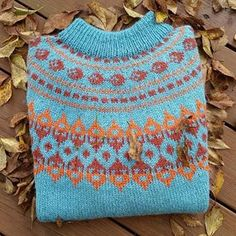 strikket genser høstløv - Google-søk Fair Isle Knitting, Turquoise, Pullover, Crochet Top, Blanket, Orange, Color, Tops, Google