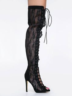 Black Thigh-High Lace OLGA BOOTS @ ZOOSHOO $70