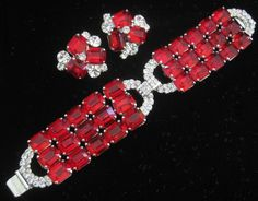 ROBERT SORRELL Large Red Glass & Rhinestones Demi Parure from vintagejewelrytoo on Ruby Lane