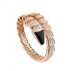 Serpenti 18kt Pink Gold Bracelet with Black Onyx and Full Pavé Diamonds