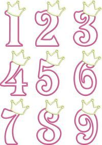 Birthday Princess Numbers- so cute! I& thinking of making the numbers in Candy Melts (fill in solid) and adding to the cake for the Birthday Princess! Royal Icing Templates, Royal Icing Transfers, Cake Templates, Princess Birthday, Girl Birthday, Birthday Parties, Princess Party, Princess Sophia, Birthday Cupcakes