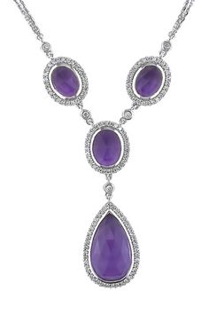 14K White Gold Diamond & Amethyst Drop Necklace by Red Carpet Ready: Fine Jewels on @HauteLook