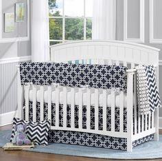 Navy Metro 4 Piece Crib Bedding Set from www.twinkletwinklelittleone.com