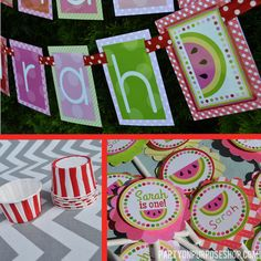 Watermelon Birthday Party Decorations by PartyOnPurposeShop, $115.00