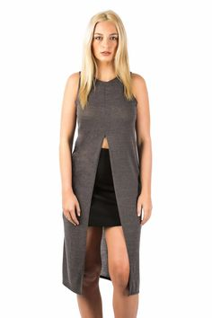 Aubrey Long Sleeveless Split Front Knitted Tunic Top in Grey