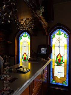 Stained glass windows with LED backlight made for one of the local beer bar.