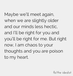 Maybe we will meet again... Heart, mind, chaos, hectic, thoughts, poison, love https://www.facebook.com/TheIDEAlistRevolution?fref=photo