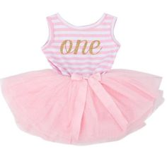 f08be0cedf9 First or Second Birthday Pink and Gold One Striped Tutu Dress – Angora  Boutique Third Birthday