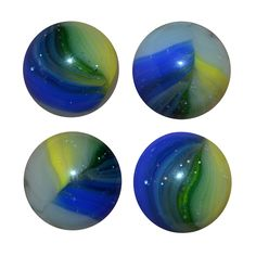 """Akro Agate Popeye Patch marble with multiple colors; blue, yellow, white and a sliver of green on a clear base. There are plenty of tiny air bubbles trapped inside the glass. It measures 5/8"""". This image shows 4 different views of the same marble.  Etsy.com/shop/CosmicLibrary"""