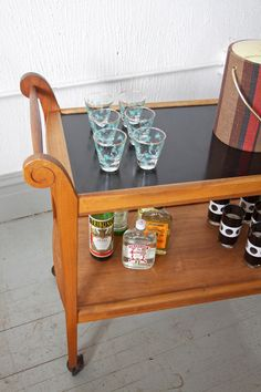 Vintage Mid Century Wood Two Tiered Bar Cart