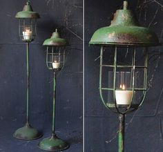 Metal Standing Lantern Pillar Holders $60.00  The tall candle lantern stands over 4 feet and will be a dynamic presence with the distressed vintage green finish and subtle candle glow.  Made of metal and glass.