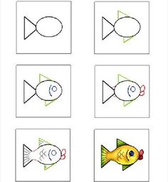 how to draw fish - Yahoo Image Search Results Fish Crafts, Rock Crafts, Drawing Lessons For Kids, Art Lessons, Drawn Fish, Teaching Drawing, Directed Drawing, Simple Cartoon, Kindergarten Art