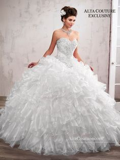 Marys Bridal Marys Quinceanera Dresses dress with Style - Fabric - Organza/Re-embroidery and Color - Ivory, Peach, White Poofy Wedding Dress, Pnina Wedding Dresses, Bridal Dresses, Cinderella Wedding Dresses, Dress Prom, Formal Dress, Types Of Dresses, 15 Dresses, White Quinceanera Dresses