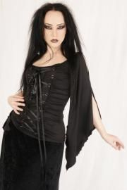 Black Stretchy Ribbon Lace-up Gothic Blouse Top