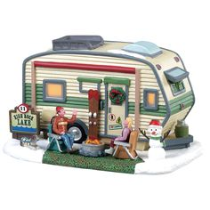Lemax High Rock Lake Trailer. SKU# 85322. Released in 2018 as a Porcelain lighted building for the Vail Village Collection.